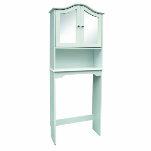 Home Source Industries WAVE Bathroom Space Saver with Shelf and 2-Door Mirrored Cabinet, White by Home Source Industries
