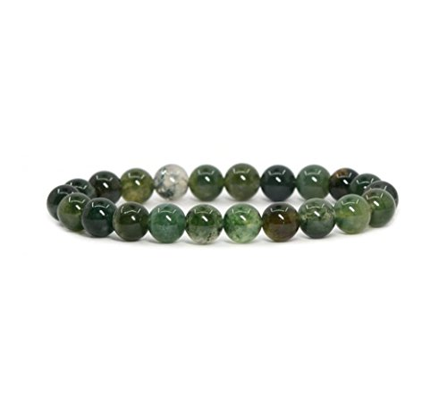 Natural Moss Agate Gemstone Bracelet 7 inch Stretchy Chakra Gems Stones Healing Crystal Great Gifts (Unisex) GB8-25