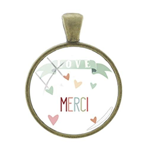 Pendants -1Pc Simple Merci Words Picture Pendants Charms French Thanks Handmade Fashion 25Mm Glass Bronze Plated Vintage Jewelry - H150