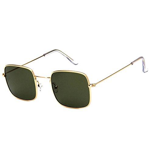 de Oscuro Lente Transparente Wicemoon Sol Gafas de cuadradas Marco Gafas con Sol Verde Oro de pwHxnqF