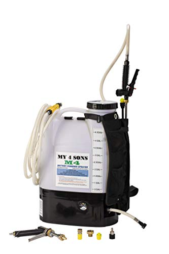 affordable My 4 Sons 4-Gallon Battery Powered Backpack Sprayer By With 0-60 PSI PRESSURE DIAL, ADJUSTABLE BRASS NOZZLE, AND 16-35 INCH STAINLESS HD WAND, ACID PLASTIC WAND, 15ft EXTENDED HOSE and SPRAY PISTOL