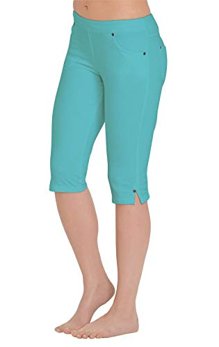 (PajamaJeans Womens Capris Comfy Stretchy - Pedal Pushers, Aqua, XLarge / 16-18)