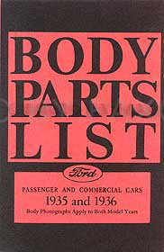 1935-1936 Ford Body Parts List Reprint: Car, Pickup, & - Pickup Ford 1935