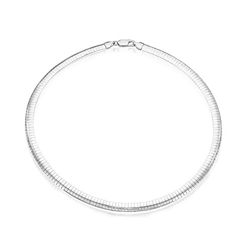 8mm Sterling Silver Italian Chain Necklace High Polished Flat Omega Chain (16, 18, 20 Inch), -