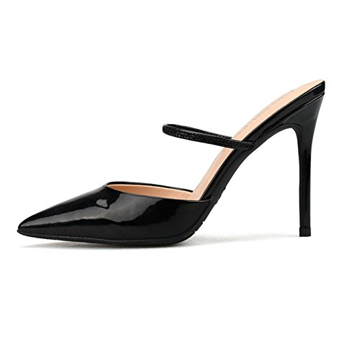 Del Mujer Pie Bomba Slingback Boda Corte Vestir Nvxie Talones Stilettos Zapatos Dedo Black Puntiagudo 1wdqxt6