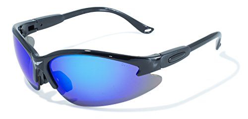 Global Vision Eyewear Cougar Safety Sunglasses With Black Frames And G Tech Blue Lenses