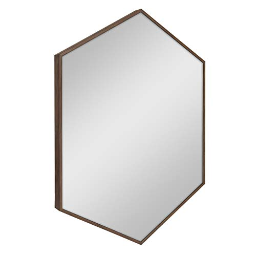 Kate and Laurel Rhodes Hexagon Framed Wall Mirror 22x31 Walnut Brown -