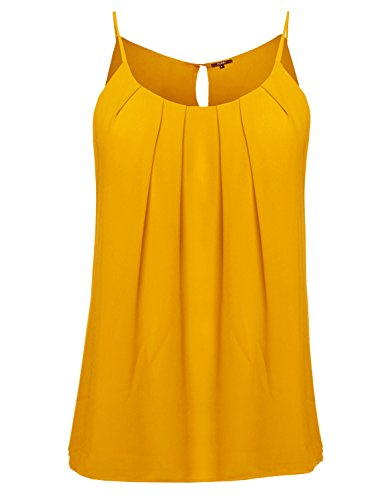 Plus4u Plus Size Solid Keyhole Back Lined Chiffon Blouse Pleated Top Mustard - Chiffon Mustard