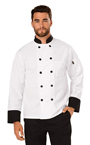 - Dickies Chef Classic 10 Button Coat with Contrast Cuffs and Collar, White/Black, Small