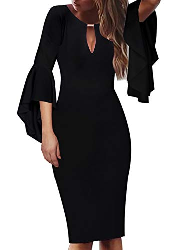 VFSHOW Womens Little Black Keyhole Embellished Ruffle Bell Sleeves Cocktail Party Bodycon Sheath Dress 2827 BLK M ()