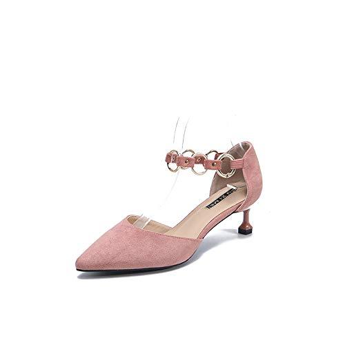 3Cm Zapatos Aguja Hembras Pink tacón Yukun Palabra zapatos Mujer Zapatos alto con De Hebilla De con De De Tacones Estilete Bajo Tacón de Individuales zzORwqY