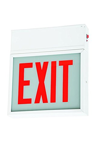 LED Exit Sign - White Steel - No Arrow - Glass Lens - Red Letters - 120/277 Volt No Battery - Fulham FHCH20-D-NA-AC