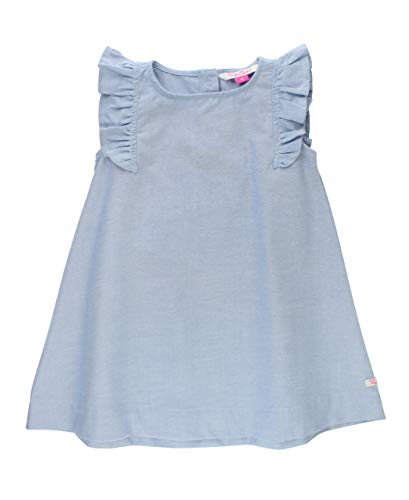 RuffleButts Baby/Toddler Girls Blue Chambray Jumper Dress - 0-3m ()