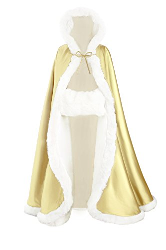 [BEAUTELICATE Women's Bridal Cape Wedding Cloak With Fur Floor-length Champagne] (Faux Chain Hooded Costumes)
