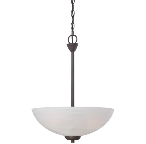 3 Bulb Hung Pendant Light Fixture, Close to Ceiling Lighting (Bronze) (Light Round Pendant Three Bronze)