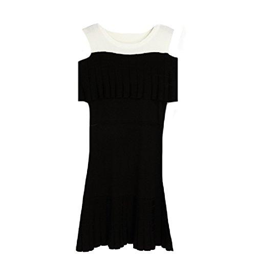 Loose Mini Pencil Dress Party Women Knit Black Coolred Sleeveless Summer Hollow Summer H6xBz5q