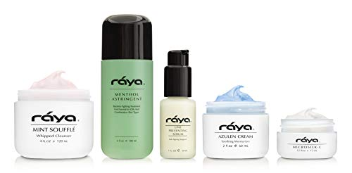 RAYA T-Zone Skin Care Kit (K-4) | 5 Piece Set of Best Selling Products for Combination Skin with Oiliness and Break-Outs in the T-Zone | Includes Cleanser, Toner, Moisturizer, Eye Cream, and Serum