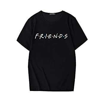 ZSIIBO Women's Friends Graphic Prints T Shirt Funny Juniors Tees Summer Cute Tops TX11F (M, Black Friends)
