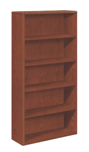 HON 10700 Series Bookcase, 5 Shelves, 36 W by 13-1/8 D by 71 H, Henna - Hon Cherry Bookcase