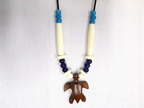 Exotic Rose Wood SEA Turtle Pendant w Ceramic Buffalo Bone Beads ADJ Necklace - Wood Exotic Pendant