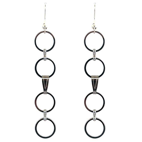 Simple Long and Lightweight Silver Plated Circle Link Statement Dangle Earrings | Handmade Modern Geometric Fashion Jewelry For Women