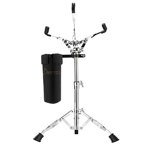(Donner Snare Drum Stand Adjustable Double Braced With Drum Stick Holder for holding silent drum)