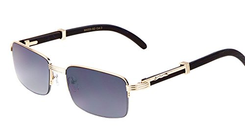 Executive Slim Half Rim Rectangular Metal & Wood Aviator Sunglasses (Rose Gold & Black Wood, - Sunglasses Rose Men Gold