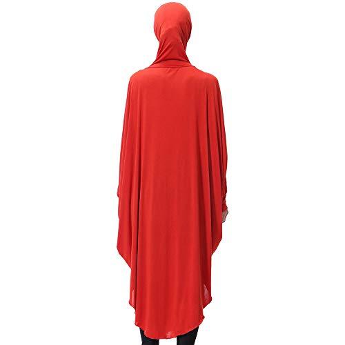 Vintage del del Rojo Mangas Color Fasion Casual Hijab Manchado Túnica Beikoard Sólido Larga Diaria Vestidos Largo Manga Musulmán De Mujeres Dama Largas zSfBWqzH