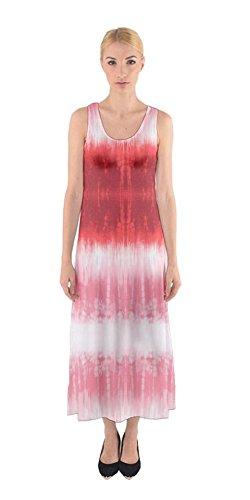 Cowcow Femmes Cravate Colorant Été Fausse Impression Occasionnels Maxi Robe Sans Manches Plage Boho, Xs-5xl Rayures Rouges