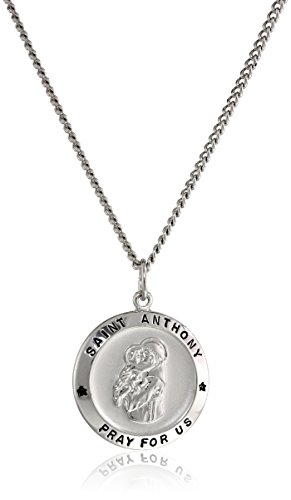 Sterling Silver Round Saint Anthony Pendant Necklace with Rhodium Plated Stainless Steel Chain, 20