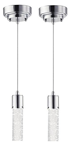 One-Light LED Indoor Mini-Pendant, Chrome Finish with Bubble Glass (2-Pack) ()