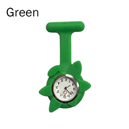 Silicone Nurse Sunflower Shape Watch Pocket Brooch Clip Medical Nurse Pocket Clock Nursing Timepiece LL@17 - Silicone Optimus 3d