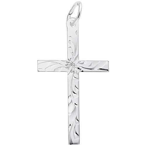 Rembrandt Charms, Diamond Cut Cross.925 Sterling Silver