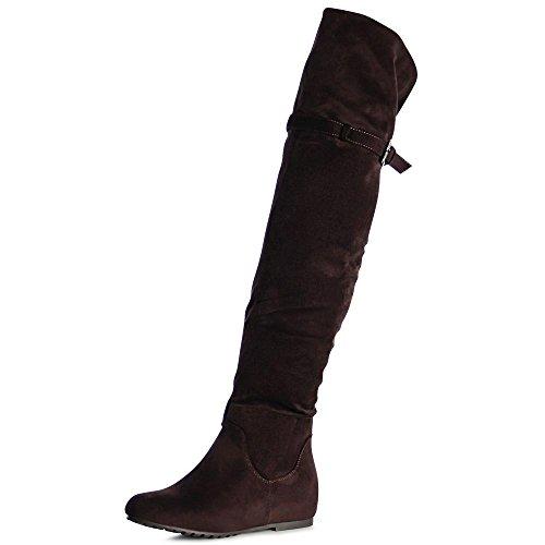 topschuhe24 1065 Damen Stiefel Overknee Keilabsatz Braun