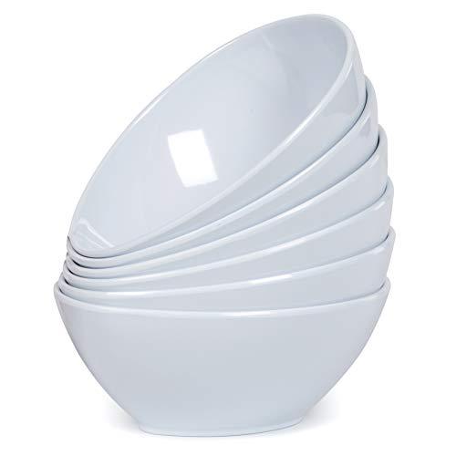 Melamine Pasta Bowls Set - 6pcs White Dinner Ice Cream Bowls for Indoor Outdoor Use, 16oz, Egg ()