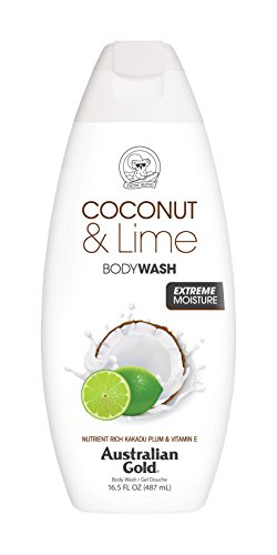 Australian Gold Body Wash, Gentle Moisturizing with Nutrient Rich Kakadu Plum Vitamin E, Coconut Lime, 16.5 Ounce Pack of 6