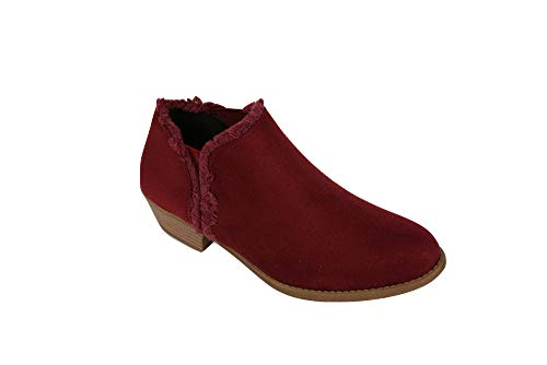 Ivay Women's Fringe Ankle Booties Fall Faux Leather Ladies Heels Boots Burgundy