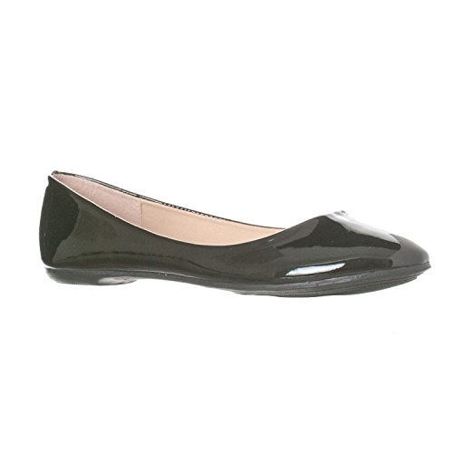 Riverberry Women's Aria Closed, Round Toe Ballet Flat Slip On Shoes, Black Patent, 8.5