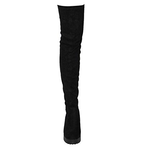 Besonon EJ05 Frauen Stretchy Snug Fit Plattform Oberschenkel Hohe Chunky Heel Stiefel Schwarzes Wildleder
