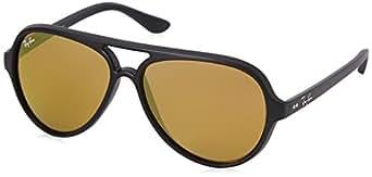 Ray-Ban CATS 5000 - MATTE BLACK Frame BROWN MIRROR GOLD Lenses 59mm Non-Polarized