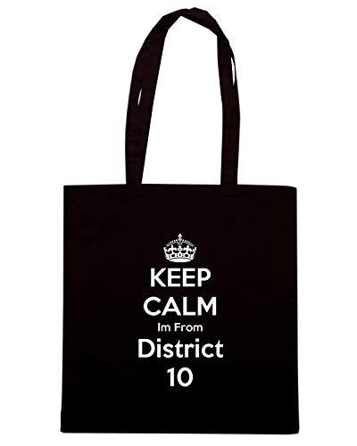 Speed Shirt Borsa Shopper Nera TKC2615 KEEP CALM AND IM FROM DISTRICT 10