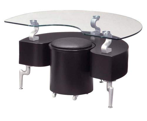 (Global Furniture USA T288 Black Occasional End Table with Silver Legs)