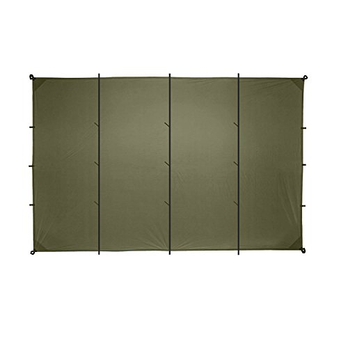 Aqua Quest Safari Tarp XL 20 x 13 ft Olive Drab - Lightweight Waterproof Sil Nylon Camping Tarp Tent - Extra Large Base Camp Shelter by Aqua Quest