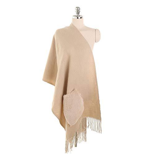 LISTHA Pocket Cashmere Scarf Shawl Women Cute Cardigan Coat Fashion Street Style