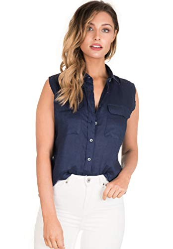 CAMIXA Women's 100% Linen Sleeveless Button-Down Two Pockets Shirt Cool Casual XS Navy Blue
