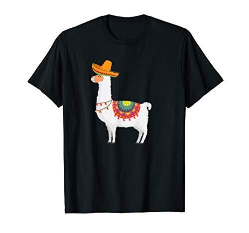Llama Happy Cinco De Mayo T-Shirt Gift with Sombrero Hat
