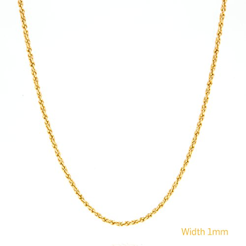 [Rope Chain, 1MM, 24K Gold Over Semi-Precious Metals, Pendant Necklace, 20 Inches] (Hip Hop Group Costumes)