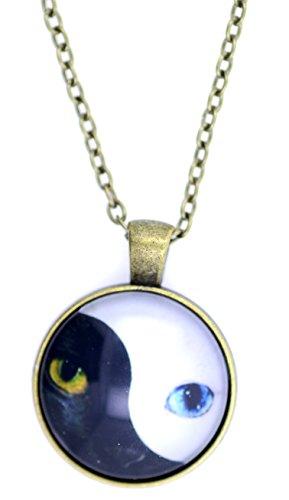 Lizzyoftheflowers - Lizzyoftheflowers. Bronze coloured outline. Cat eye and yin yang yinyang sign pendant - Outline Eye Cat