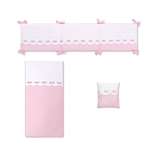 Bimbi Class–Bettbezug, 72x 142cm, weiß und rosa
