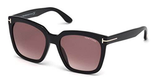 Tom Ford 0502 01T Shiny Black Amarra Square Sunglasses Lens Category 3 Size - Ford Sunglasses Square Tom